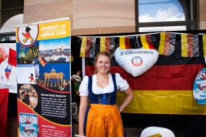 Catrin, UQ German Club president, embracing her inner German at their Open Day
